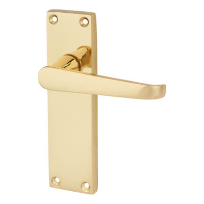 Touchpoint Budget Straight Door Handle - Long Latch Set - Polished Brass