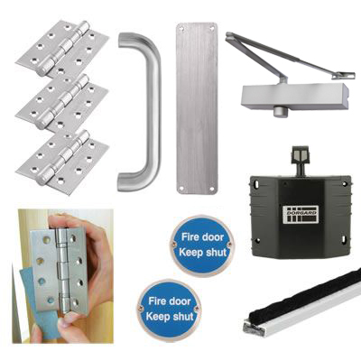 Medium Duty Pull Handle Fire Door Kit with Hold Open Device - Stainless Steel