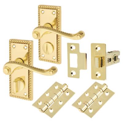 Georgian Handle Door Kit - Short Latch Bathroom Set - Polished Brass