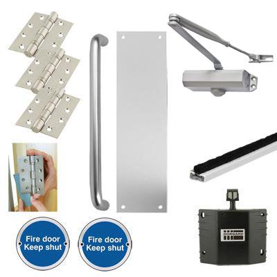 Light Duty Pull Handle Fire Door Kit with Hold Open Device - Aluminium