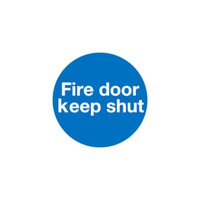 Fire Door Keep Shut - 100 x 100mm - Self Adhesive Vinyl - Pack 30
