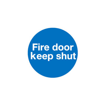 Fire Door Keep Shut - 100 x 100mm - Self Adhesive Vinyl - Pack 30
