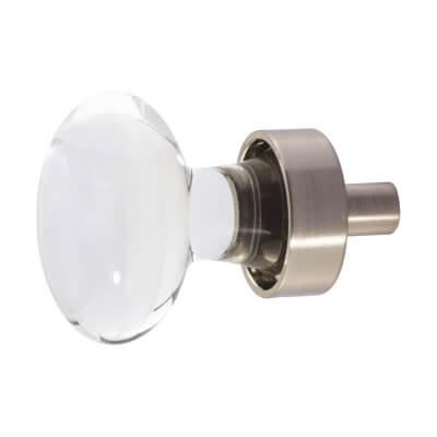 Aglio Oval Glass Cabinet Knob - 31mm - Satin Nickel