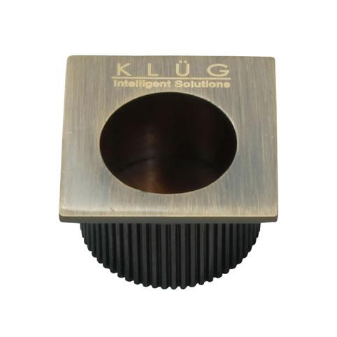 KLÜG Square Door Edge Finger Pull - 30 x 30mm - Antique Brass)