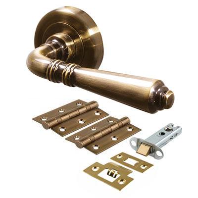 Morello Salisbury Lever Door Handles on Rose - Door Kit - Antique Brass)