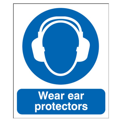 Wear Ear Protectors - 420 x 297mm - Rigid Plastic)
