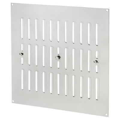Raised Hit & Miss Pattern Vent - 242 x 242mm- 6604mm2 Free Air Flow - Polished Chrome