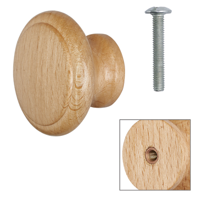 Cabinet Knob - Beech Lacquered - with Bolt & Insert - 40mm - Pack of 5