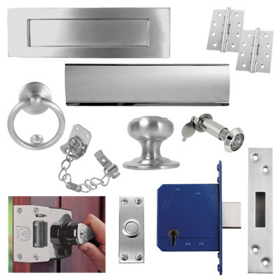 Front Door Furniture Kit - Satin Chrome)
