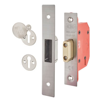 UNION® 2105S StrongBOLT 5 Lever Deadlock - 68mm Case - 45mm Backset - Satin Stainless)