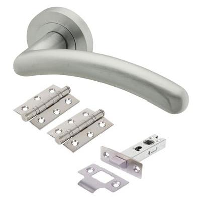 Touchpoint Carina Lever Door Handle on Rose - Door Kit - Satin Chrome