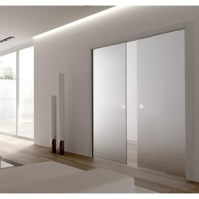 Eclisse 8mm Glass Double Pocket Door Kit - 125mm Wall - 826 + 826 x 2040mm Door Size