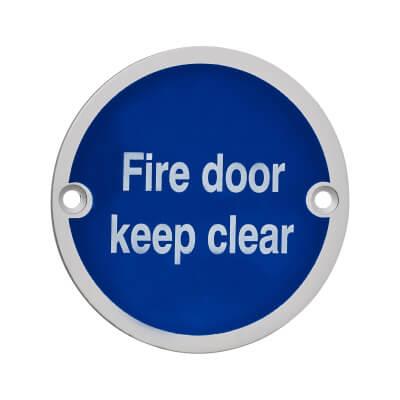 Fire Door Keep Clear - 75mm - Satin Aluminium)