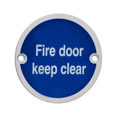Fire Door Keep Clear - 75mm - Satin Aluminium
