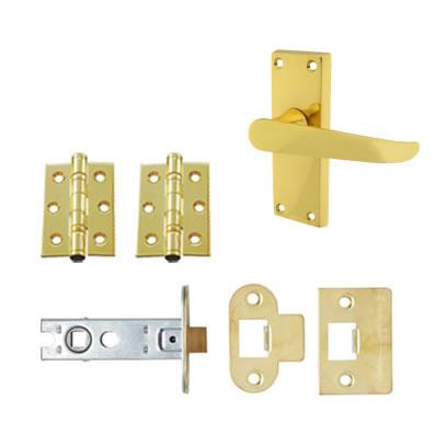 Aglio Victorian Handle Door Kit - Short Latch Set - Polished Brass