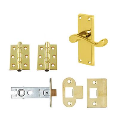 Aglio Victorian Scroll Handle Door Kit - Short Latch Set - Polished Brass