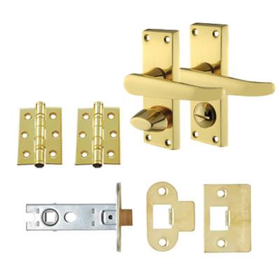 Aglio Victorian Handle Door Kit - Short Latch Bathroom Set - Polished Brass