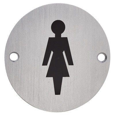 Ladies Toilet Sign - 75mm - Satin Aluminium)