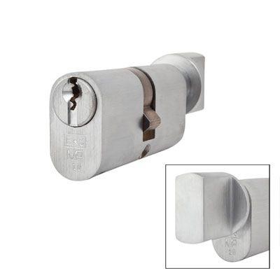 Eurospec MP10 - Oval Cylinder and Turn - 32[k] + 32mm - Satin Chrome  - Keyed Alike