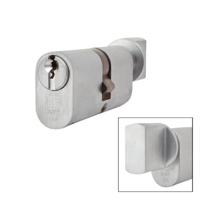 Eurospec MP10 - Oval Cylinder and Turn - 32[k] + 32mm - Satin Chrome  - Keyed to Differ