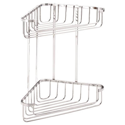 Croydex Wirework Shower Large Corner Basket - Two Tier - Stainless Steel