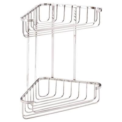 Croydex Wirework Shower Large Corner Basket - Two Tier - Stainless Steel