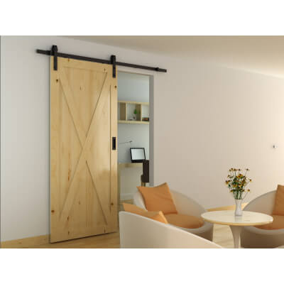Barrierslide Barn Strap Sliding Door Gear- 2000mm - Black)