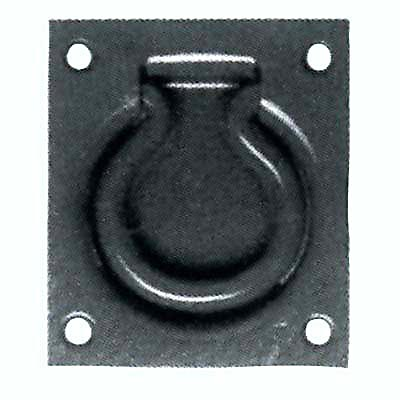 Cellar Flap Trap Door Ring - 90mm - Antique Black Iron)