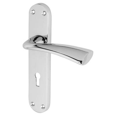 Morello Verona Door Handle - Lock Set - Polished Chrome