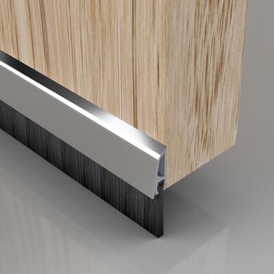 Stormguard Concealed Fixed Bottom Door Brush - 838mm - Chrome)