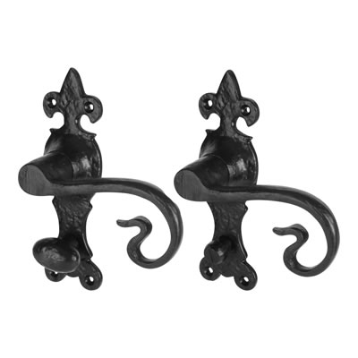 Elden Curly Tail Door Handle - Bathroom Set - Antique Black Iron
