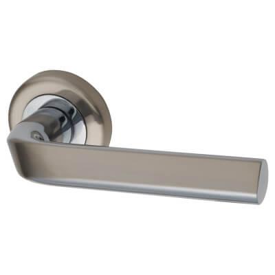 Morello Worcester Door Handle - Satin Nickel/Chrome Plated