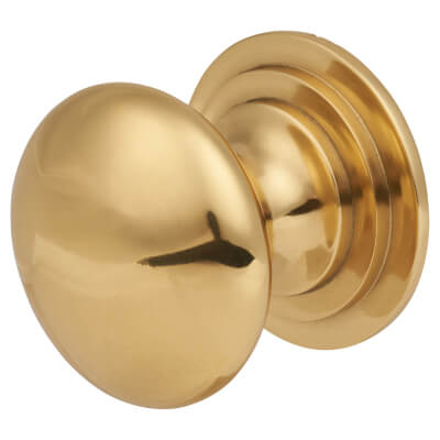 Touchpoint Victorian Turned Cabinet Knob - 32mm - Polished Brass