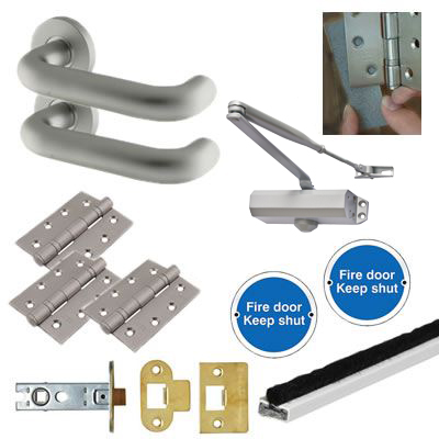 Light Duty Lever Door Handle on Rose Fire Door Kit - Latch - Aluminium