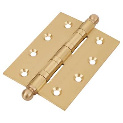 Ball Tip Ball Bearing Hinge - 100 x 75 x 3mm - Satin Brass - Pair