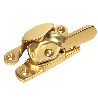 14mm Narrow Locking Fitch Fastener - Heavy Duty - 64mm - Polished Brass)