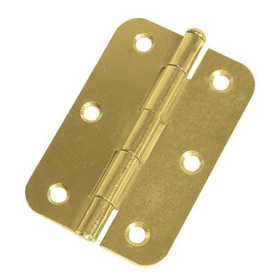 Loose Pin Radius Steel Hinge - 89 x 60mm - Brass Plated - Pair