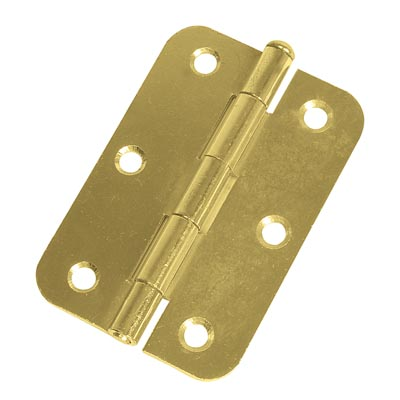 Loose Pin Radius Steel Hinge - 89 x 60mm - Brass Plated - Pair