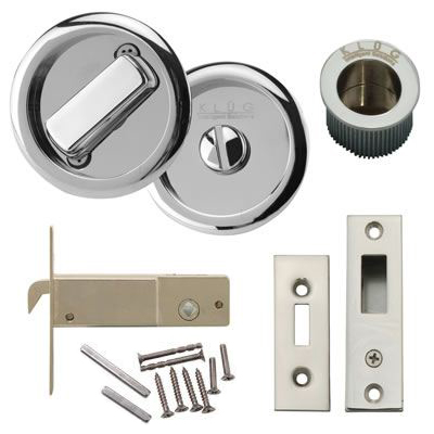 KLÜG Round Flush Privacy Set with Bolt - Polished Chrome)