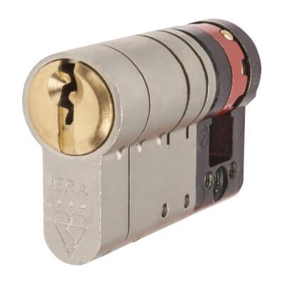 ERA 3 Star Fortress Cylinder - Euro Single - Length 55mm - 45 + 10mm - Nickel and Brass