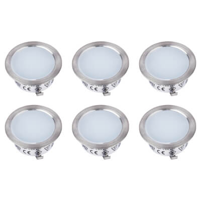 Sensio Nimbus LED Plinth Lights - Round - Cool White - Includes Driver - Pack 6