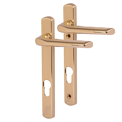Carlisle Brass - uPVC/Timber - Solid Brass Multipoint Door Handle - 92mm Centres - Polished Brass)