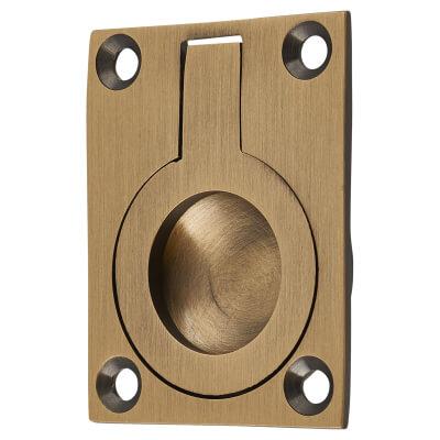 Rectangular Flush Ring Pull - 50 x 38mm - Antique Brass