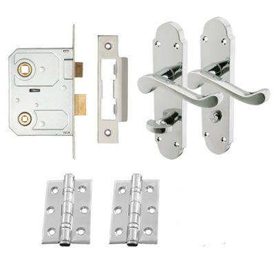 Aglio Victorian Summer Door Handle Kit - Bathroom Set - Polished Chrome