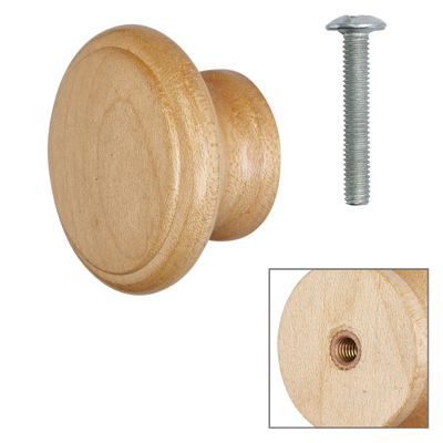 Cabinet Knob - Maple Lacquered - with Bolt & Insert - 45mm - Pack of 5