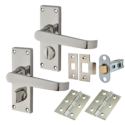 Touchpoint Budget Straight Door Handle Kit - Privacy Set - Polished Chrome