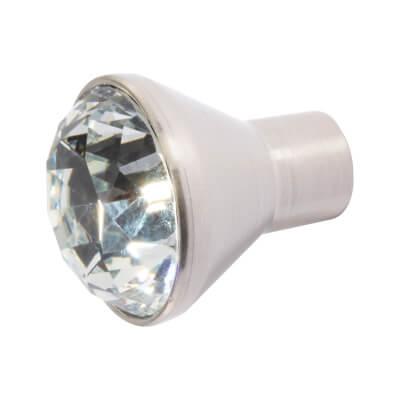 Aglio Raised Cut Crystal Glass Cabinet Knob - 29mm - Satin Nickel
