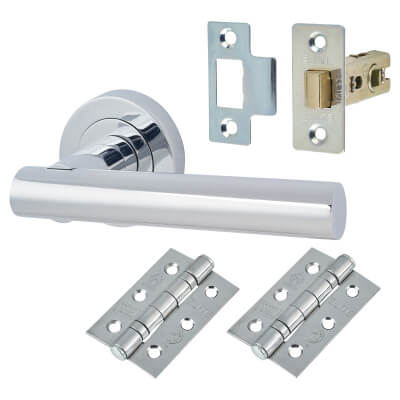 Touchpoint Bella Lever Door Handle on Rose - Door Kit - Polished Chrome