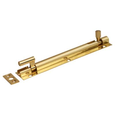 Cranked Barrel Bolt - 150 x 25mm - Polished Brass