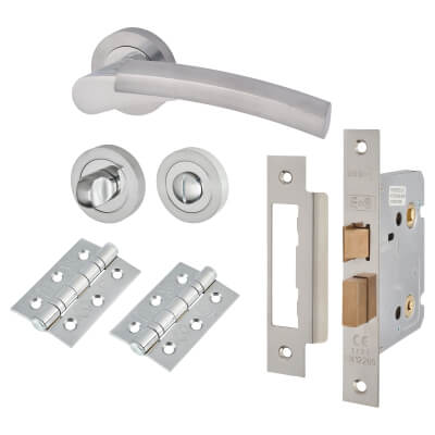 Touchpoint Alexis Lever Door Handle - Bathroom Lock Kit - Satin/Polished Chrome)